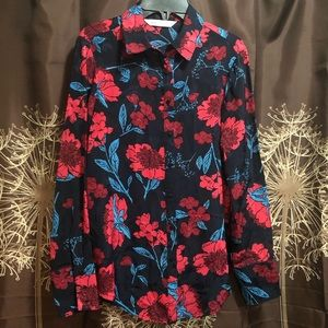 ZARA Navy Red Floral Button Front Blouse Top Shirt